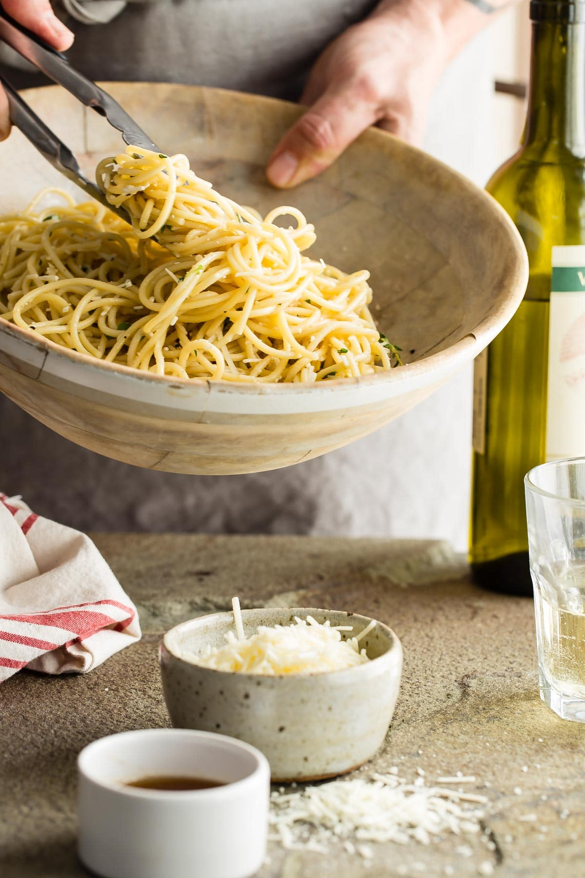 Simple brown butter spaghetti tossed with fresh thyme and mizithra cheese. This is an awesome meal that can be on the table in less than 30 minutes!