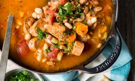Buffalo White Bean Chili with Vegetarian Sausage