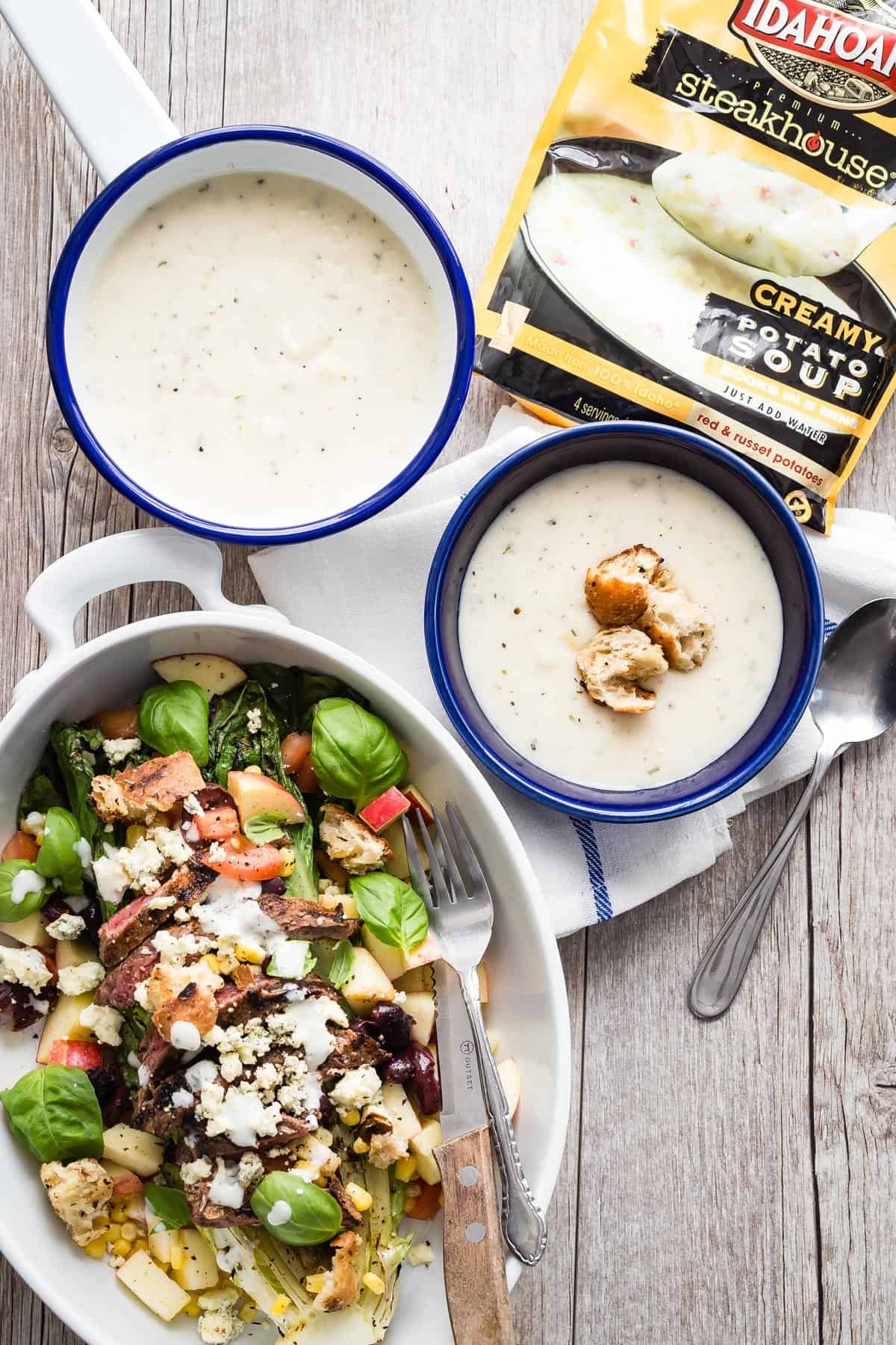 Grilled Romaine Salad is the perfect accompaniment to this creamy steakhouse style potato soup packed with red potatoes and red potato skins!