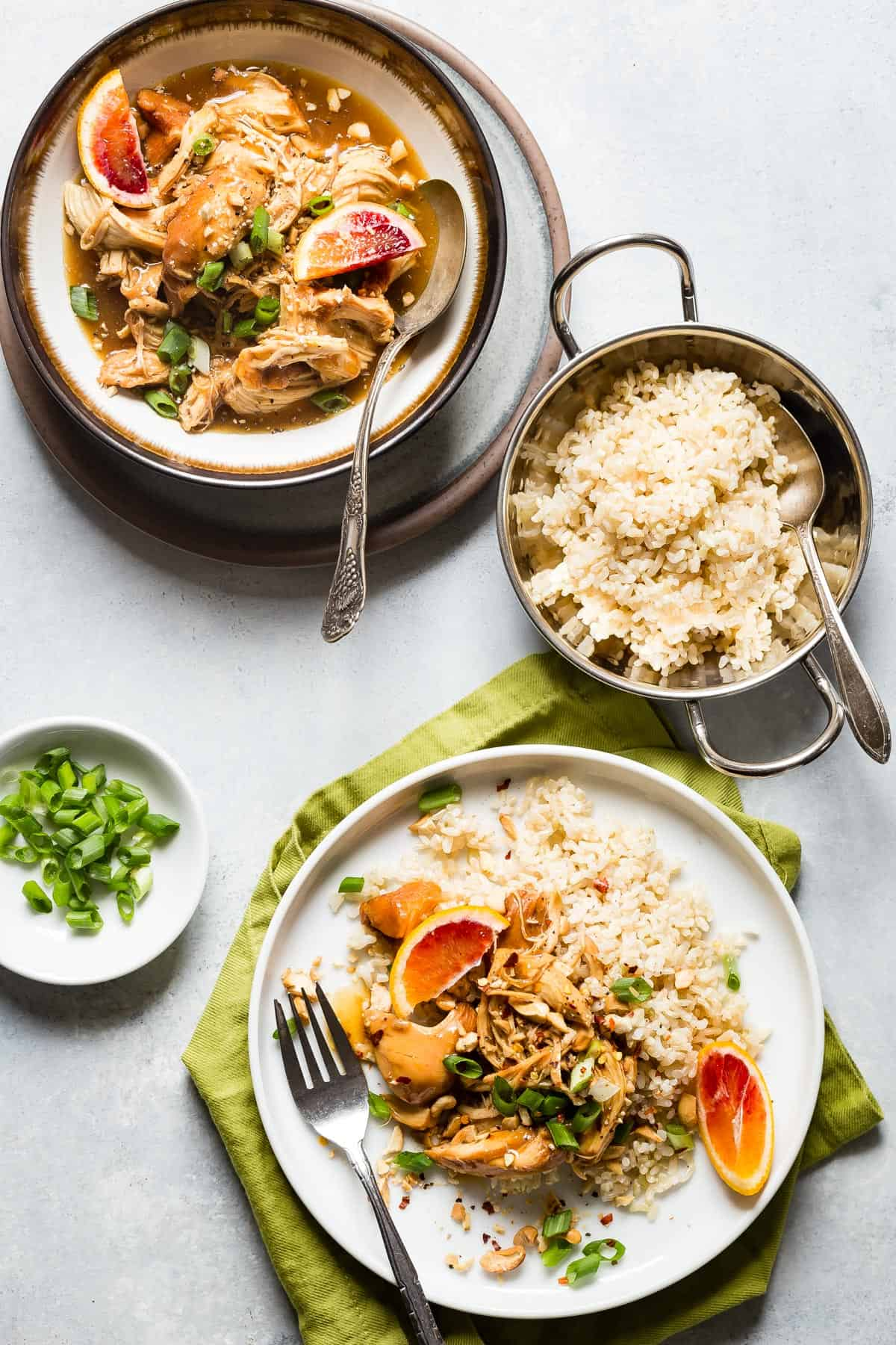 The classic Orange Chicken made in the slow cooker and served with fluffy brown rice on the side. Feed the family with this healthier version of the famous takeout!