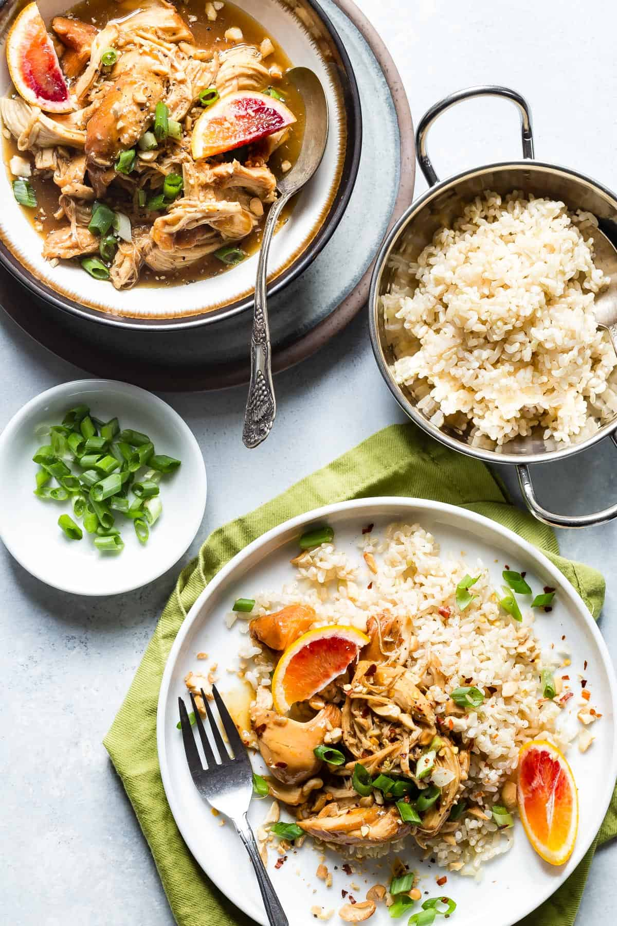 Slow Cooker Shredded Orange Chicken and Brown Rice