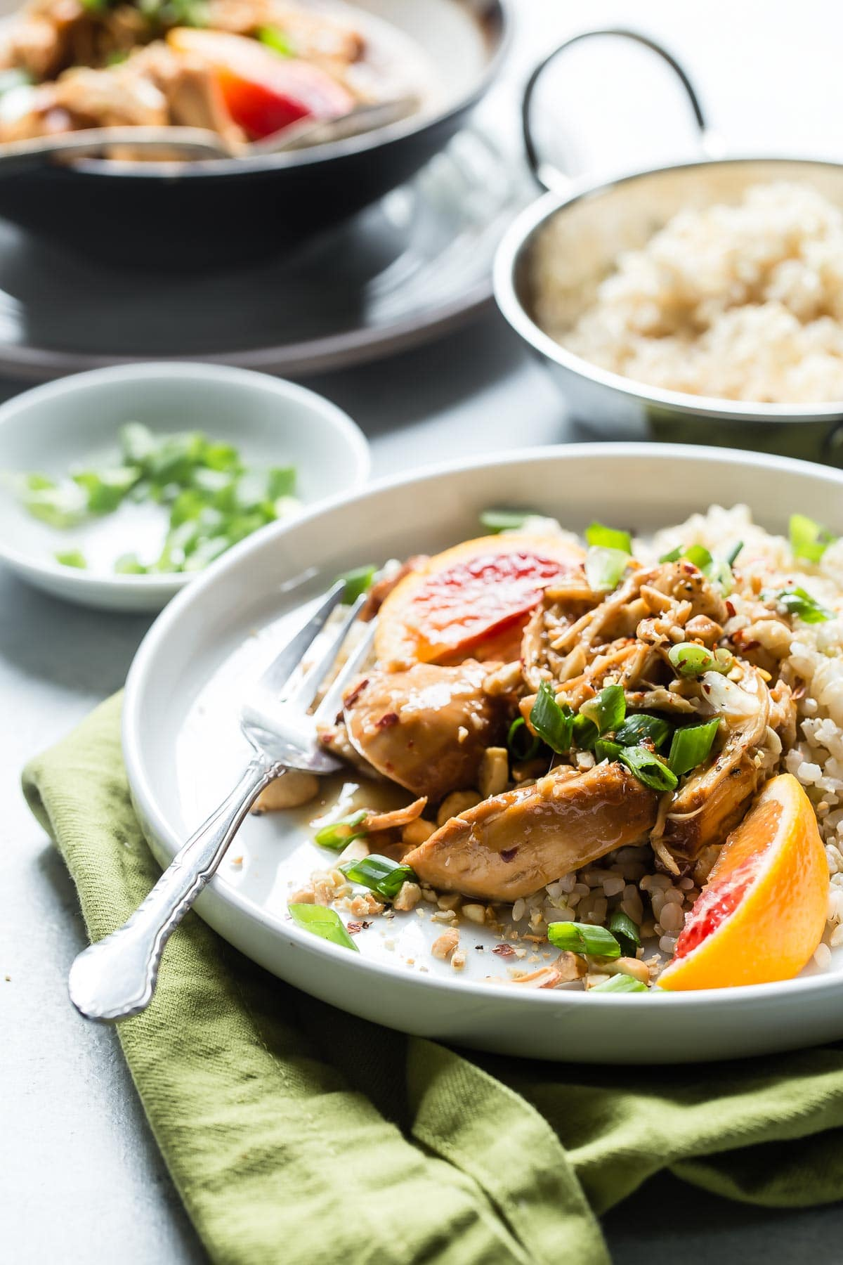 Awesome shredded orange chicken with brown rice!