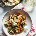 Roasted Brussels Sprouts Gratin with Balsamic and Pecans