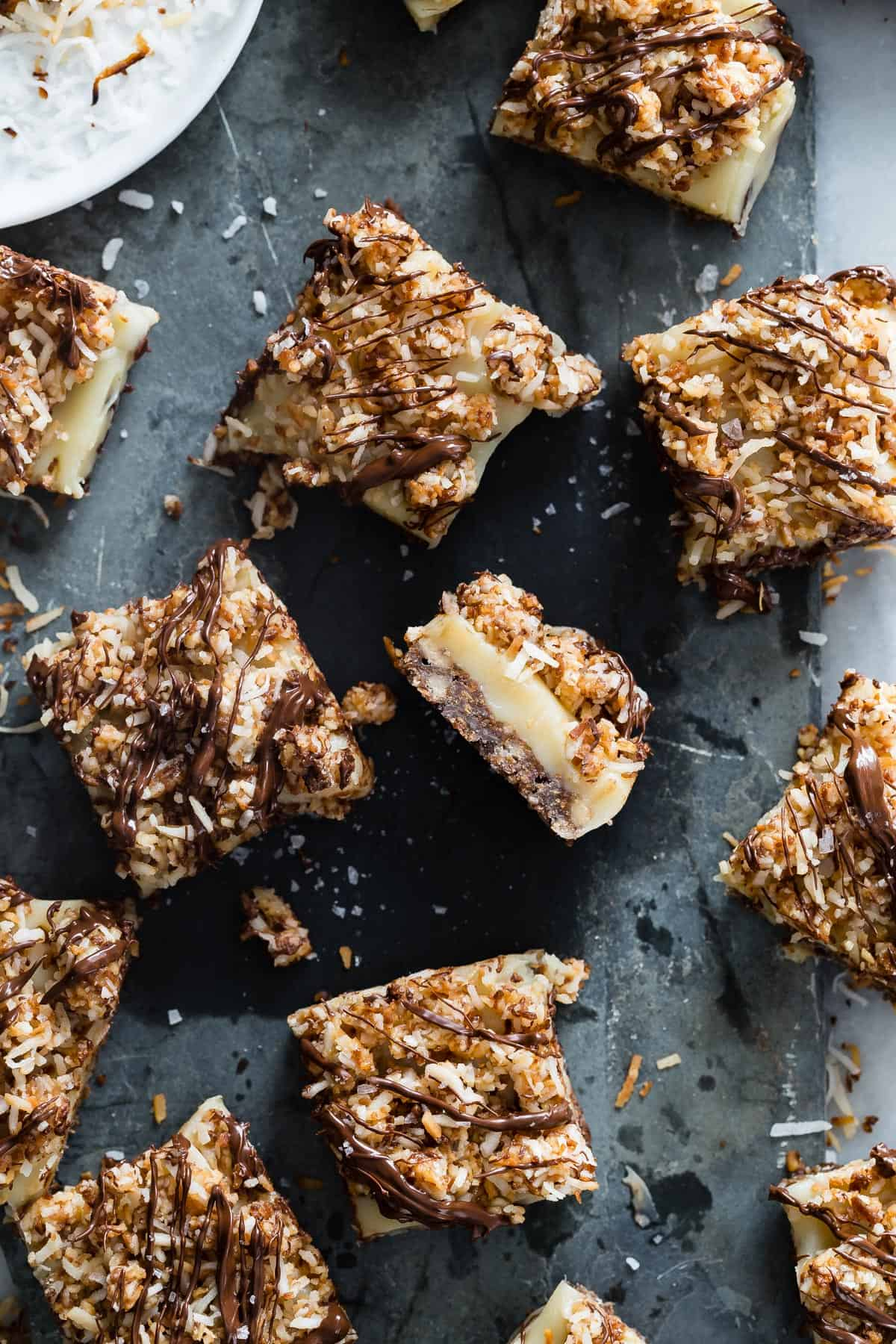 I turned these famous Girl Scout Samoa Cookies into delicious caramel millionaire bars. They taste just like the cookies only better if you can believe that!
