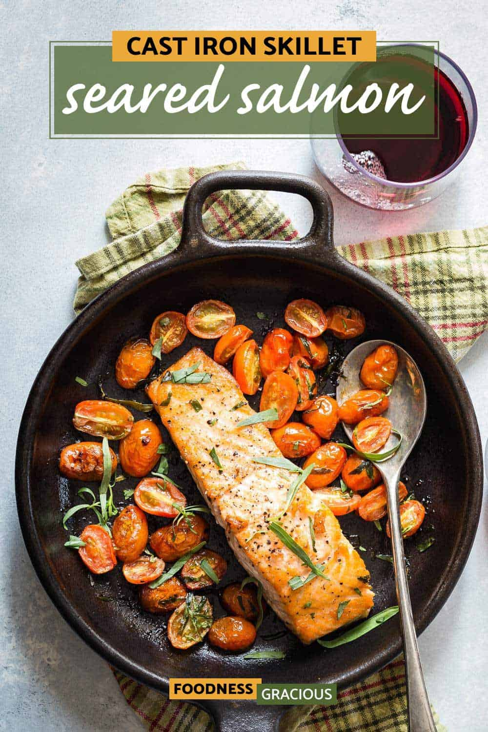 seared salmon in a cast iron skillet
