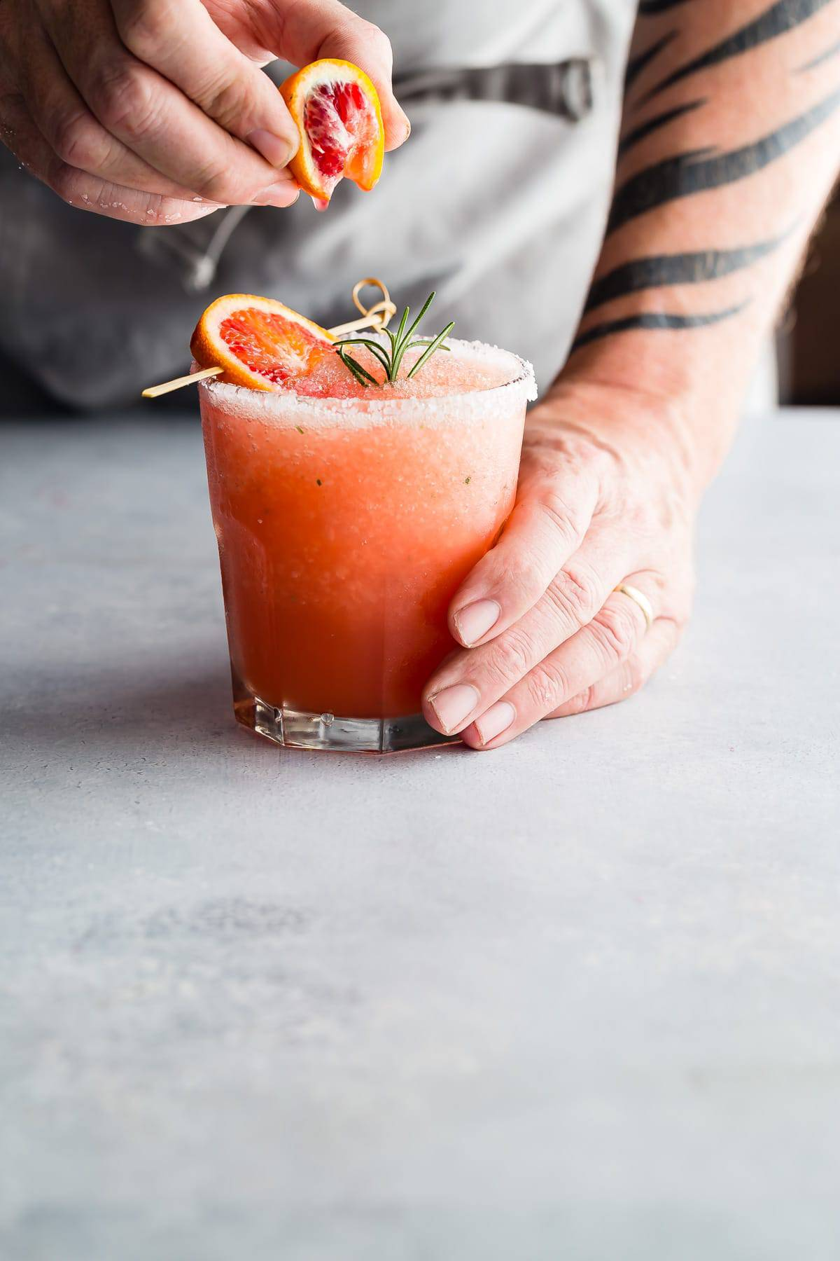 Blood Orange Margarita with Rosemary