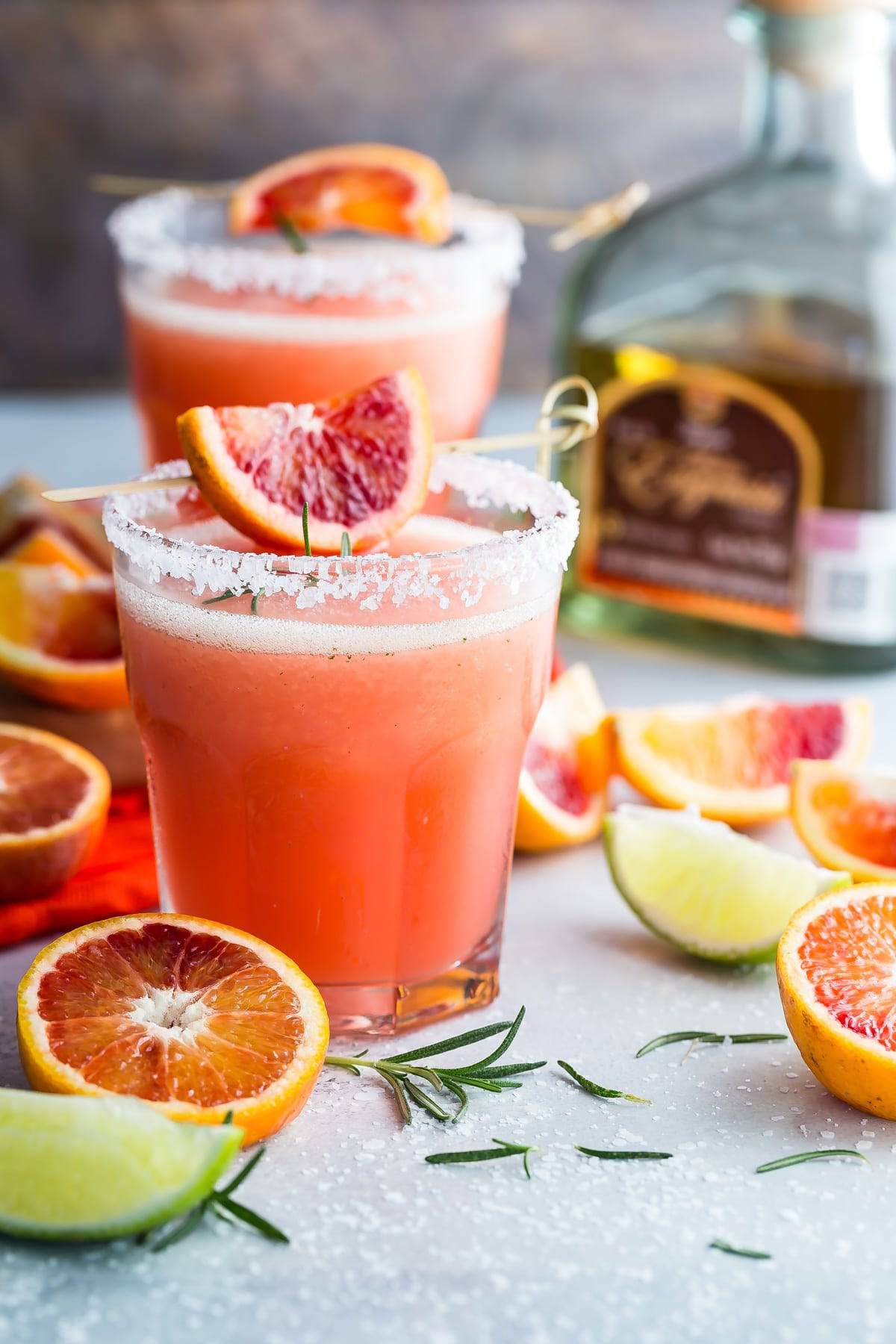 Cool and refreshing blood orange margarita with fresh rosemary!