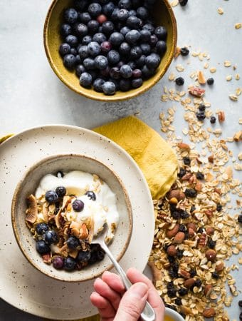 Homemade blueberry granola makes the best breakfast topping