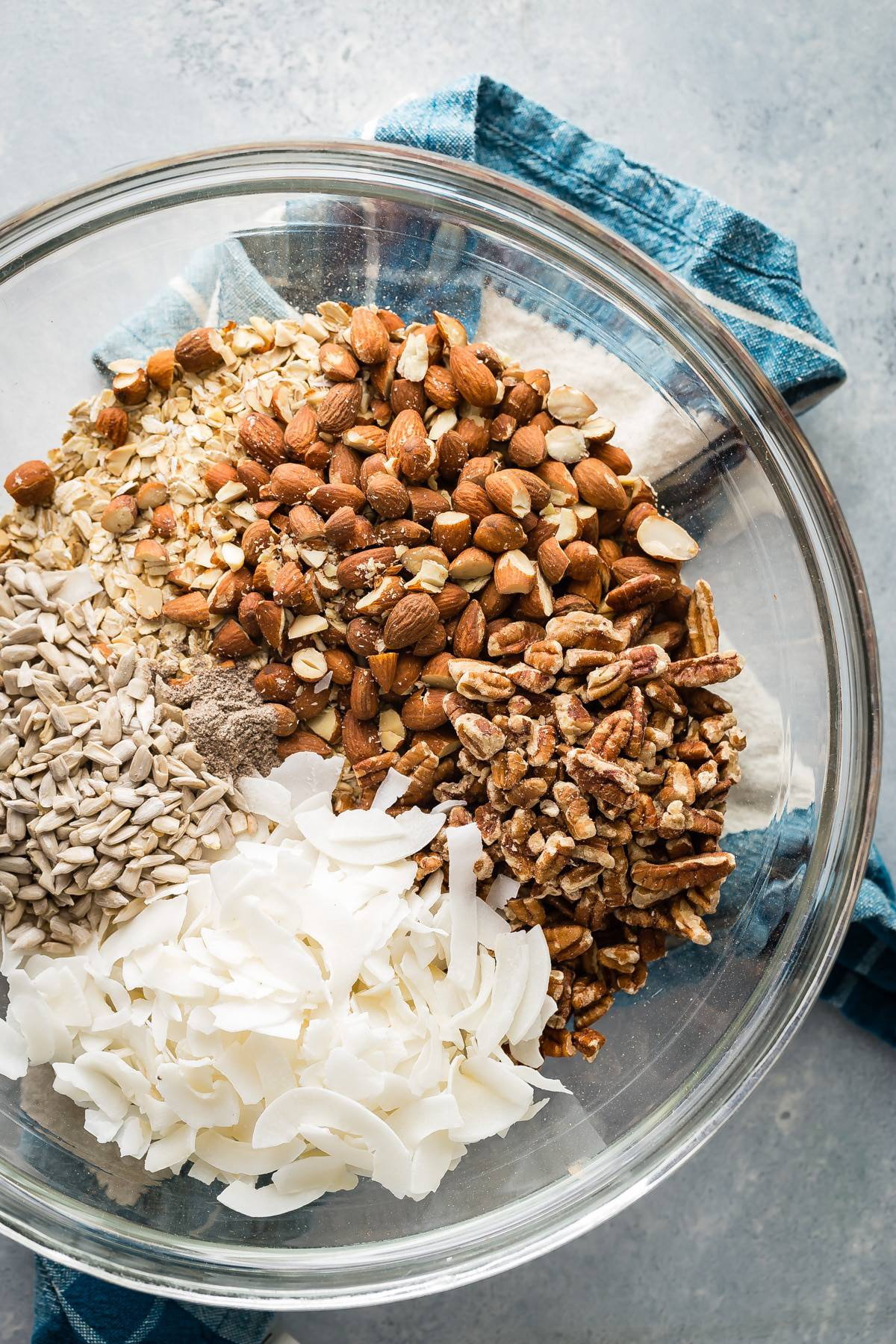 Ingredients for homemade blueberry granola