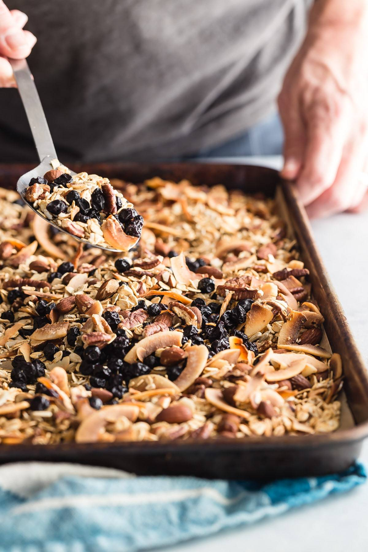 Homemade blueberry granola just out of the oven