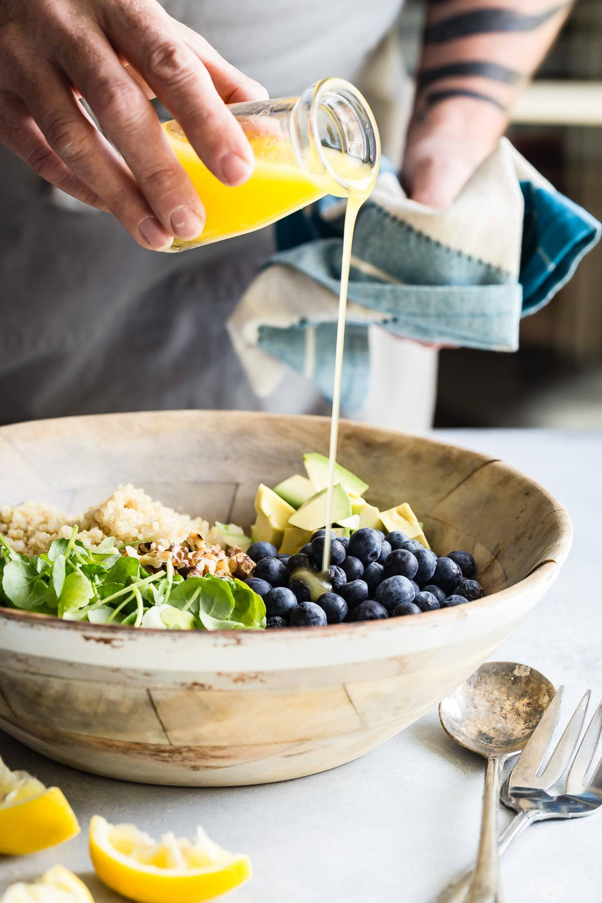Blueberry quinoa salad with a light olive oil citrus dressing.