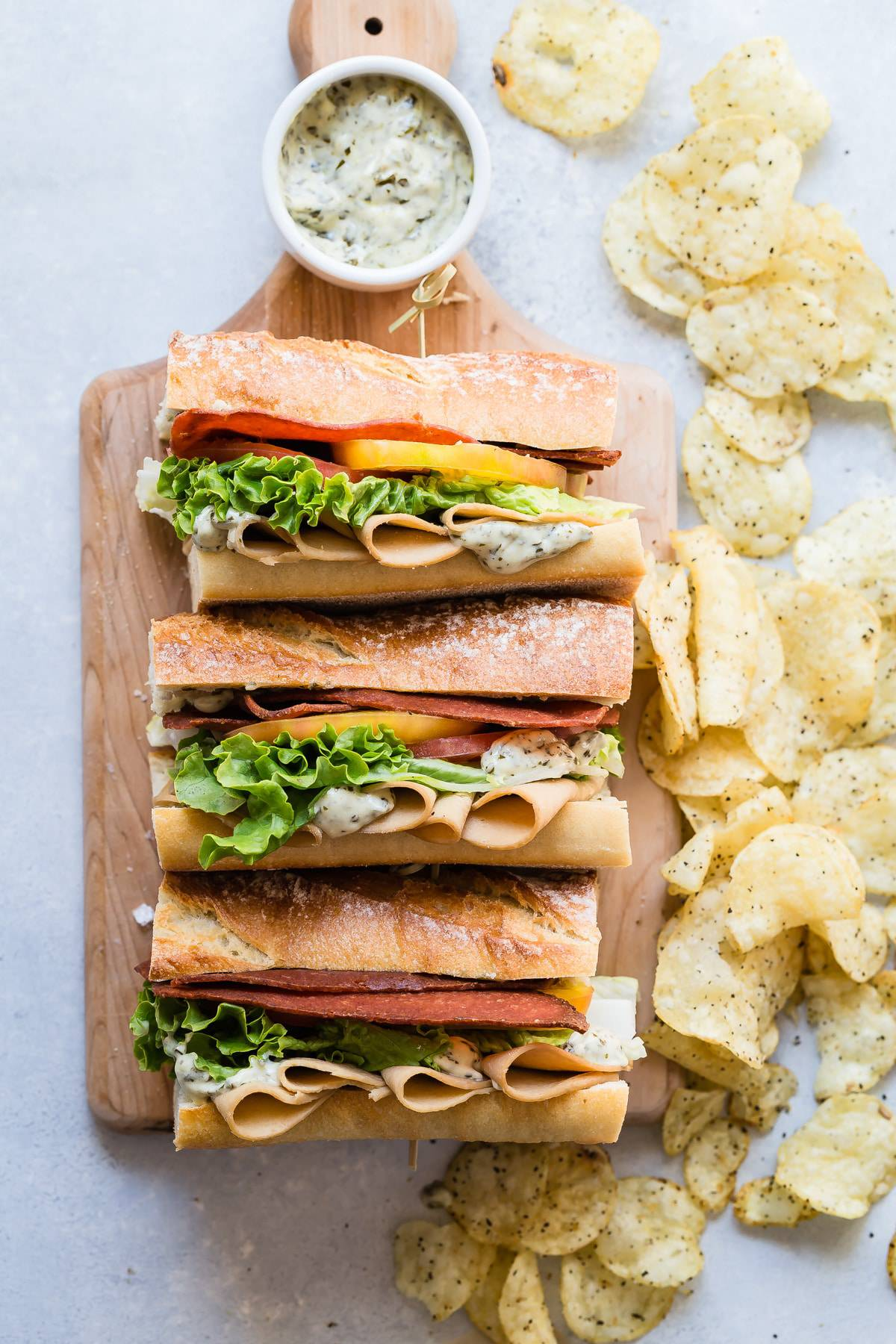 Vegetarian Club Sandwich with Pesto Spread