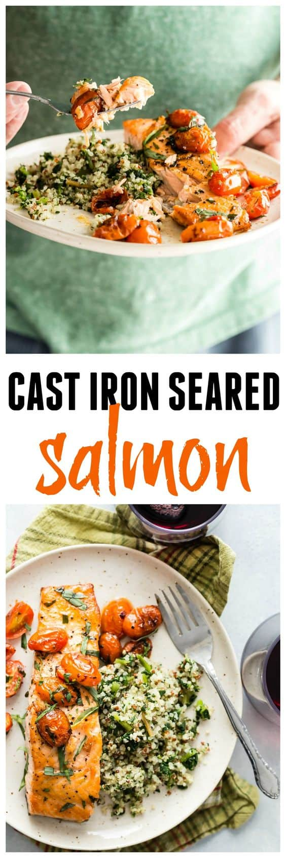 Probably the best seared salmon you will ever taste, and the easiest to cook! Make this for a fast but healthy dinner!