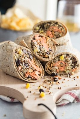 Salmon Wrap with Quinoa Black beans and Corn