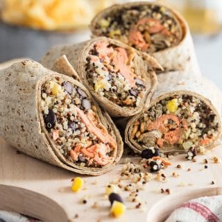 A healthy Salmon Wrap using Flatout Multigrain Flax Wraps stuffed with salmon, quinoa, corn, black beans and a peanut butter dressing. This is high in protein and loaded with flavor.