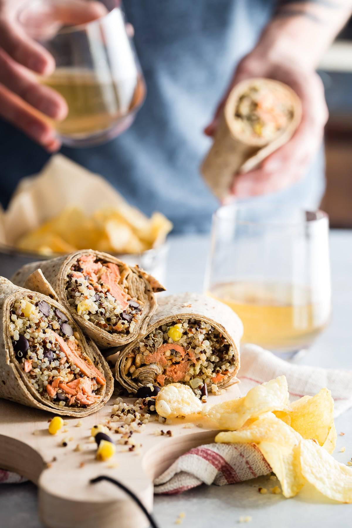 Easy to make salmon wraps are great for a picnic lunch!
