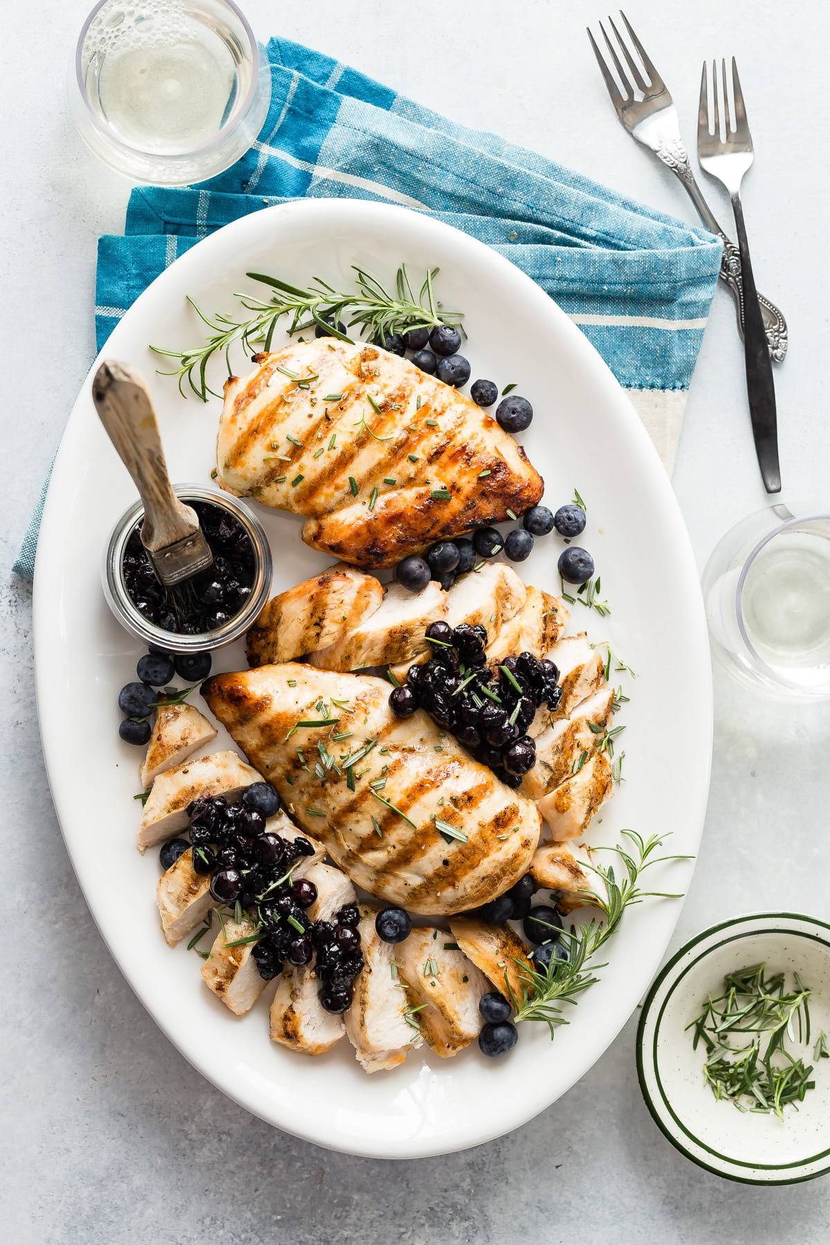 A fantastic savory blueberry relish with rosemary and balsamic vinegar. This is perfect to add on top of juicy grilled chicken breast for a summer meal.