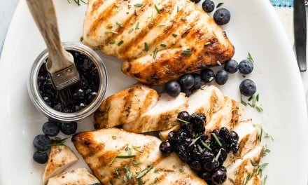 Grilled Boneless Chicken Breast with Savory Blueberry Relish