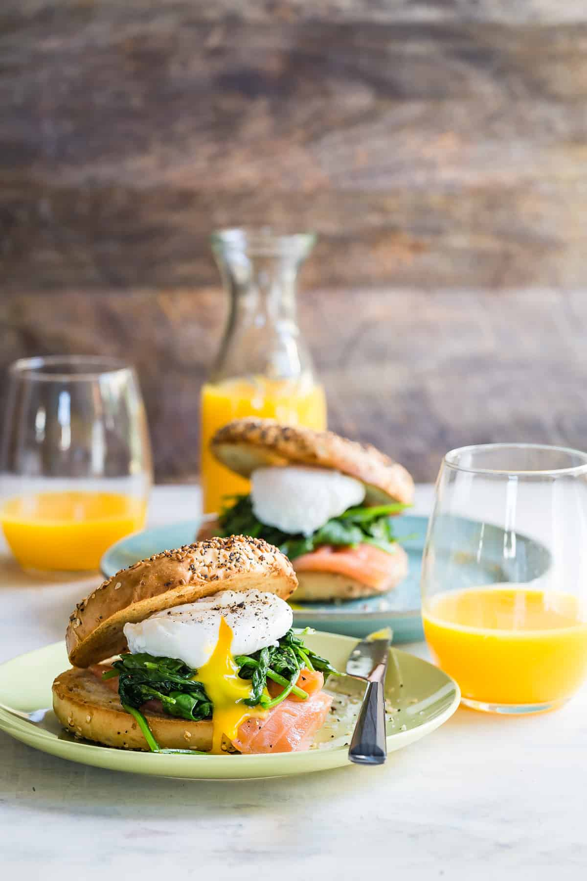 Amazing Eggs Florentine bagel with spinach, salmon and egg.