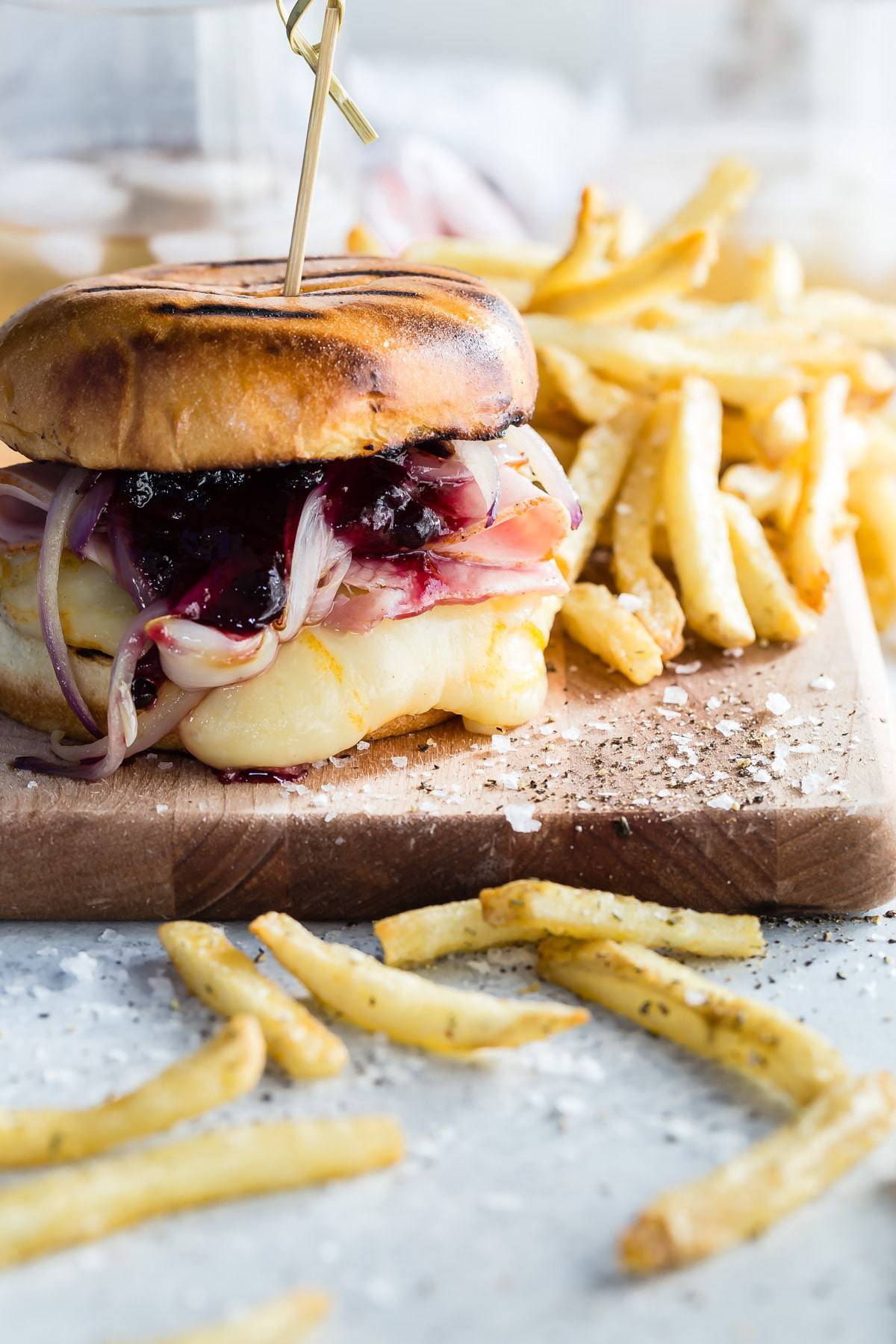 A juicy Monte Cristo Burger topped with smoked ham, blueberry jam and melted Arla Muenster Cheese.