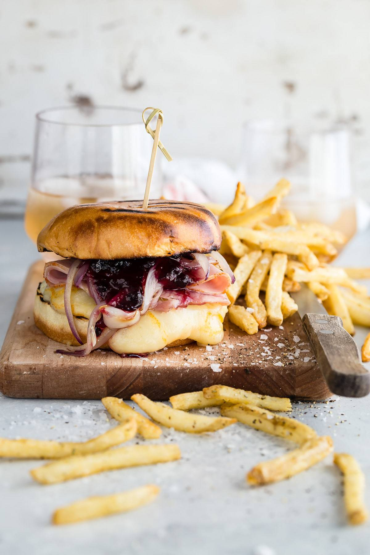 Monte Cristo Burger with Arla Muenster Sliced Cheese.