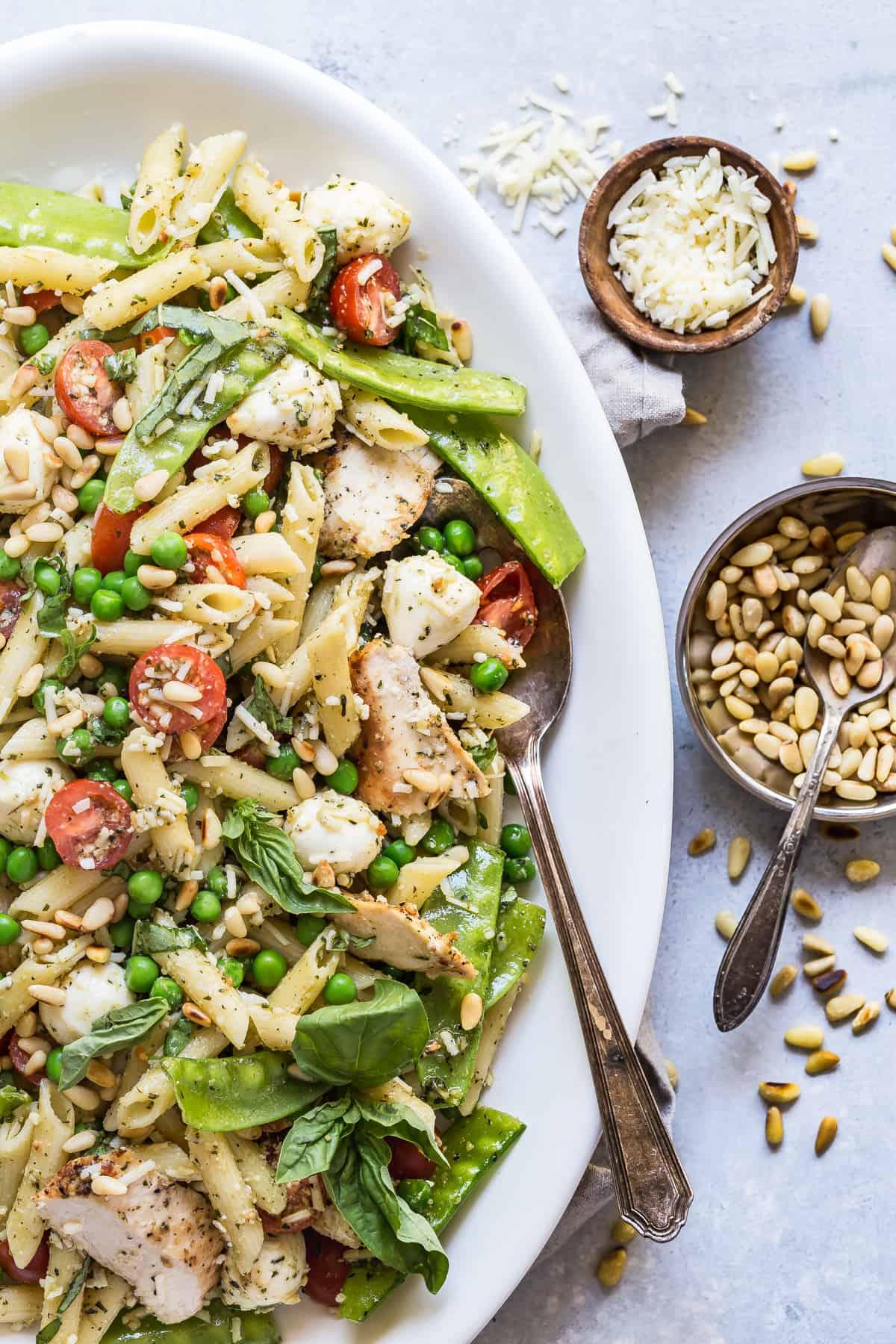 Pesto Pasta Chicken Salad with Peas and Mozzarella ...