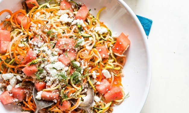 Watermelon Salad with Spiralized Veggies and Cotija Cheese