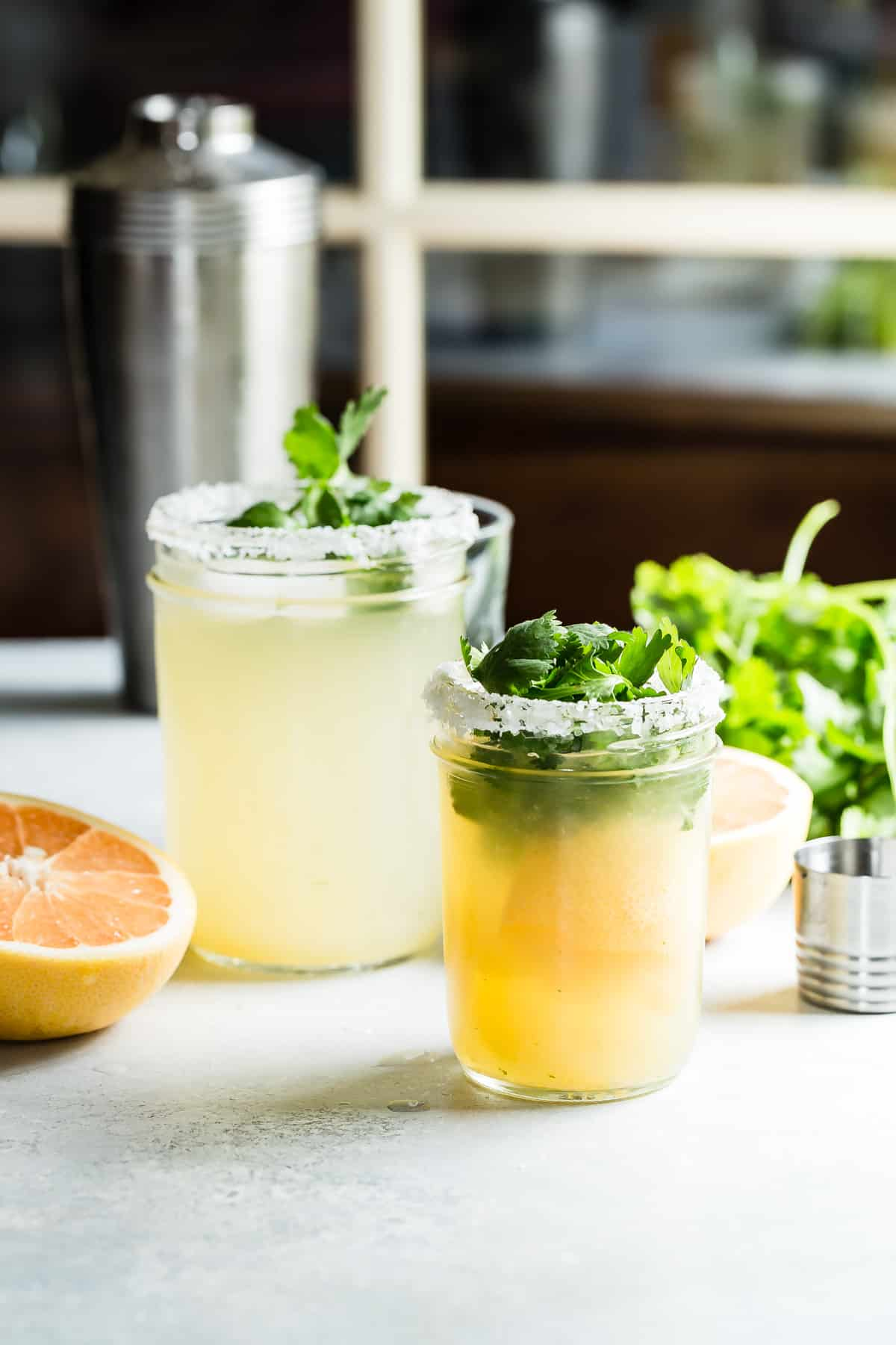 A perfect grapefruit margarita with cilantro ready for summer
