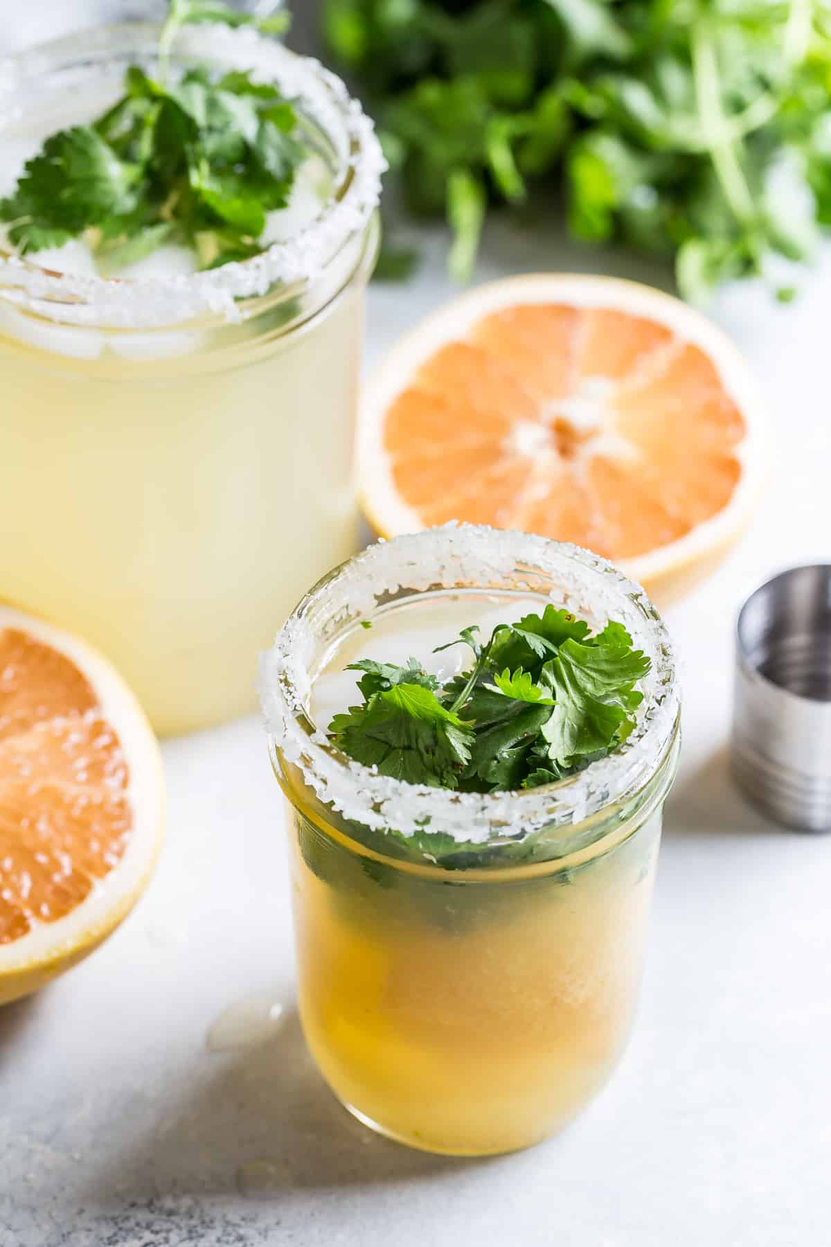 A refreshing grapefruit margarita with cilantro