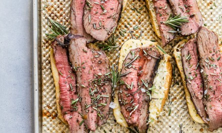 Texas Toast Open Faced Tri Tip Sandwiches