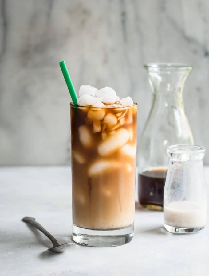 Easy iced coffee with crushed ice, vanilla almond milk and cardamom spice.