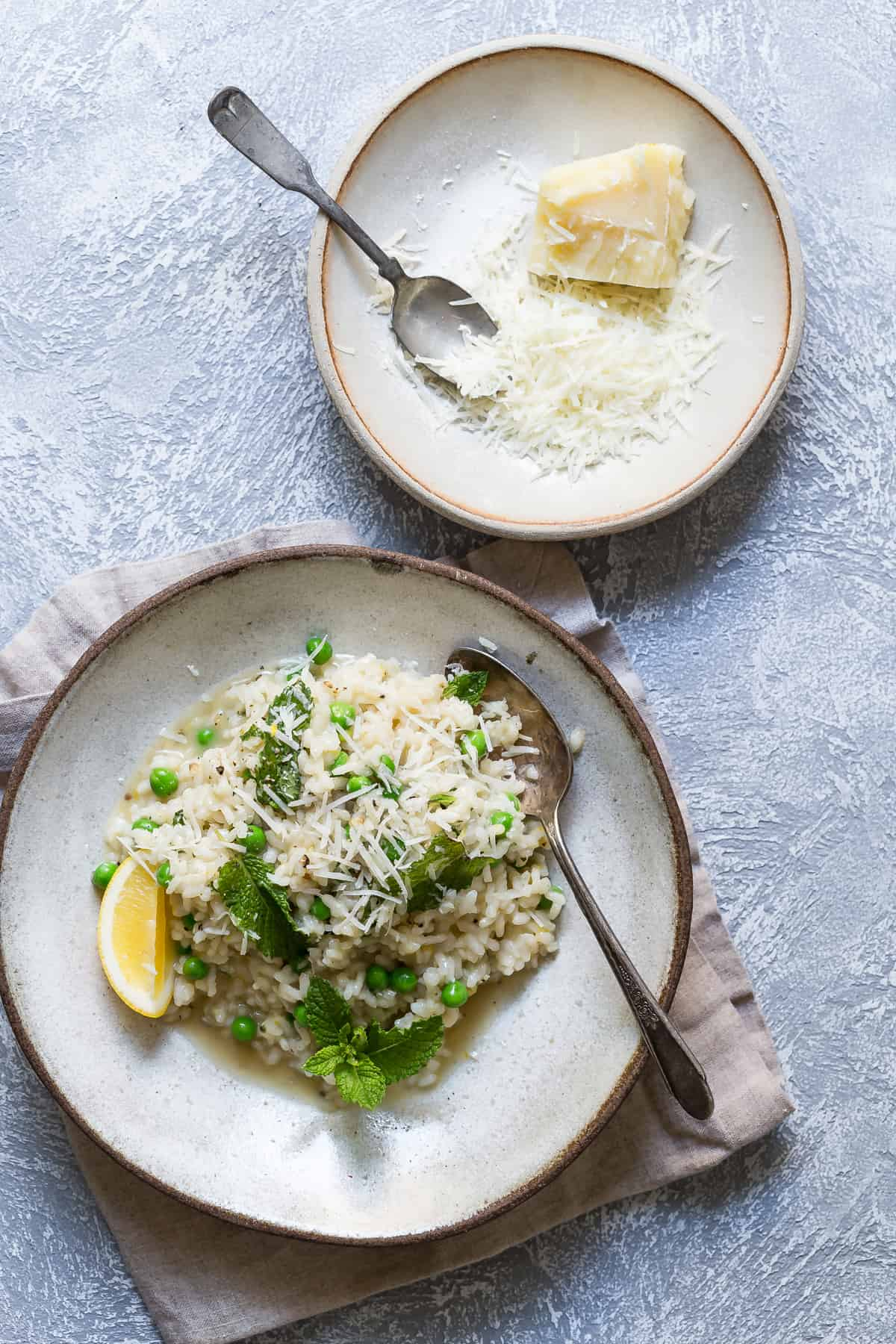 This easy risotto is perfect for dinner and loaded with fresh mint, lemon and Parmesan cheese