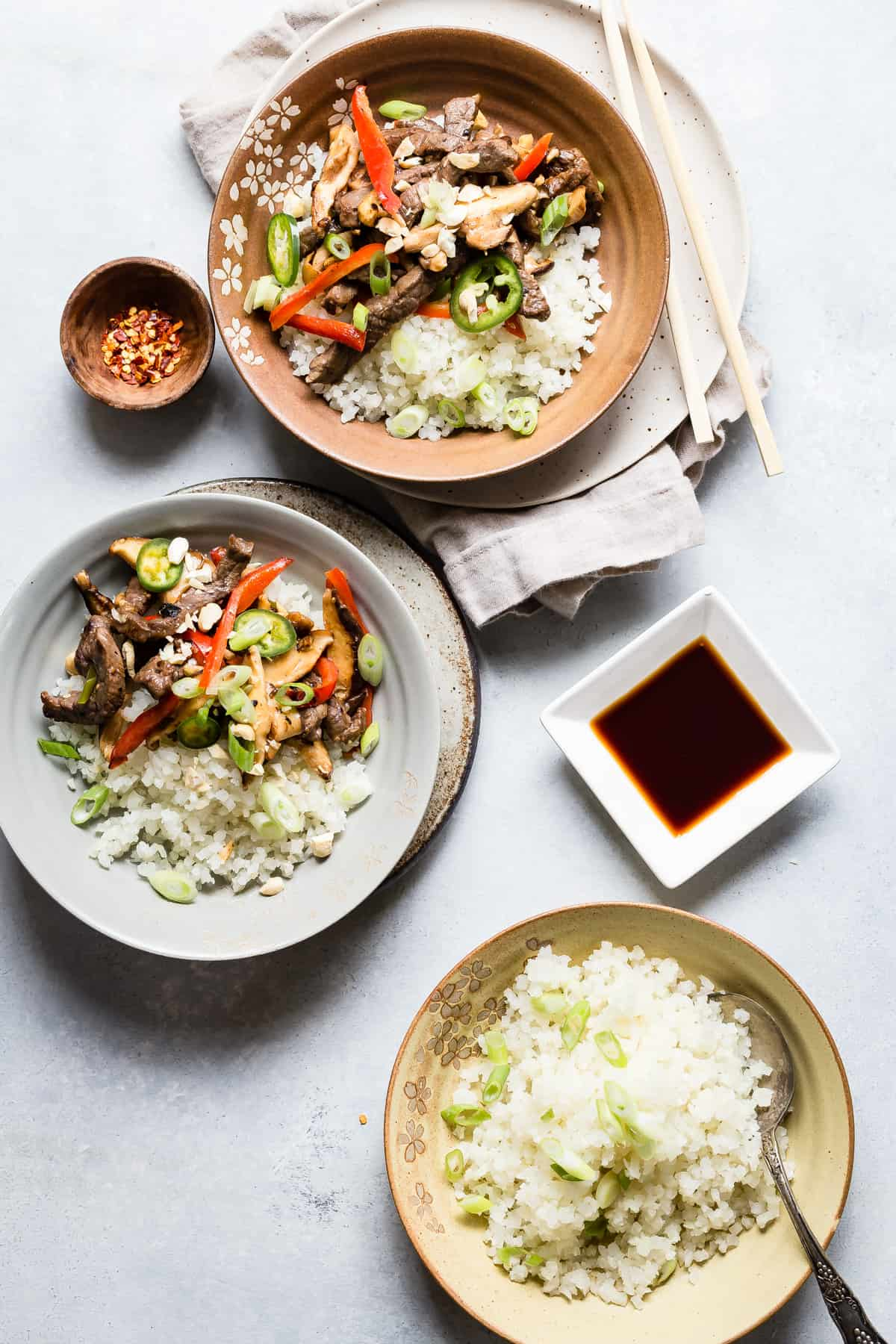 Try this beef and mushroom stir fry for dinner with cauliflower rice!