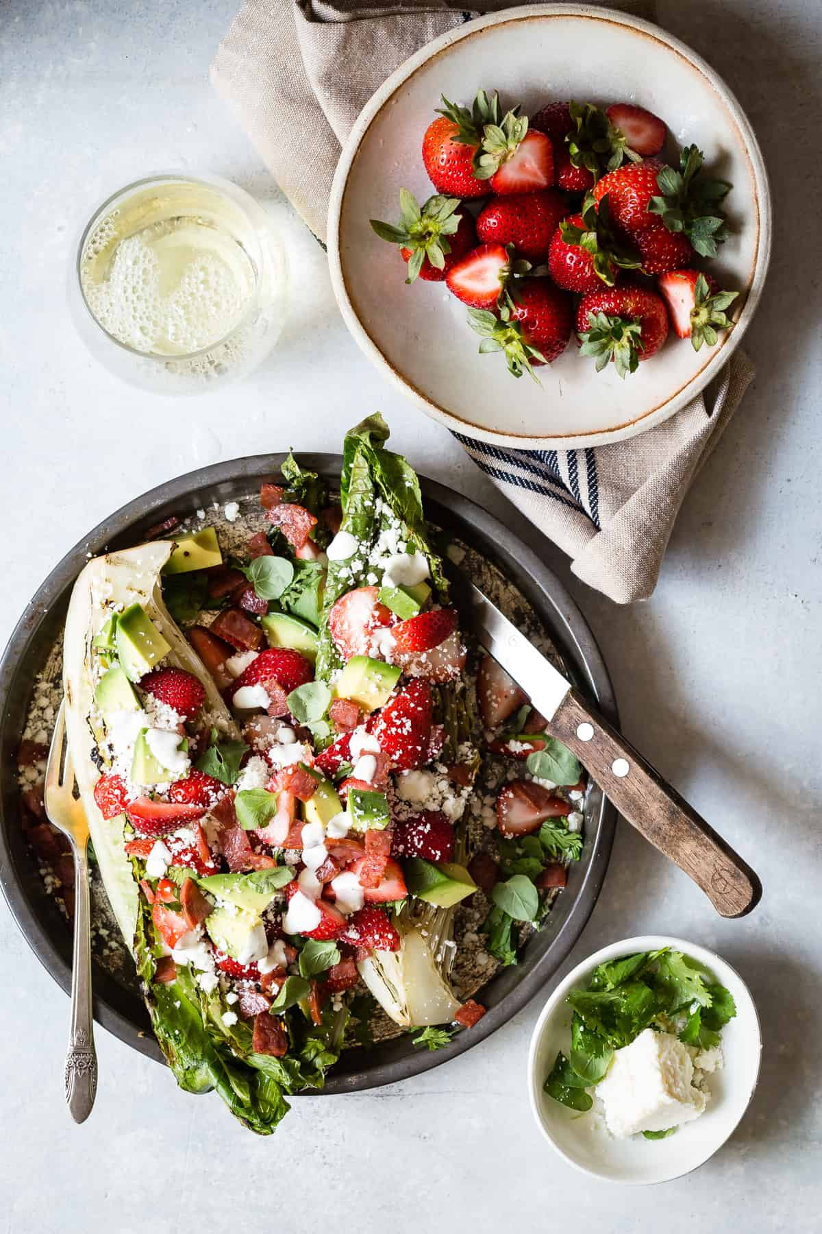 Easy lunch alert! Strawberry Salad with grilled romaine, avocado and crispy salami.
