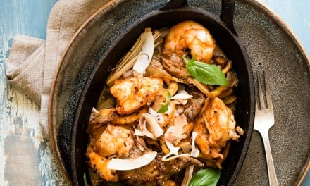 Baked Red Curry Shrimp with Oyster Mushrooms