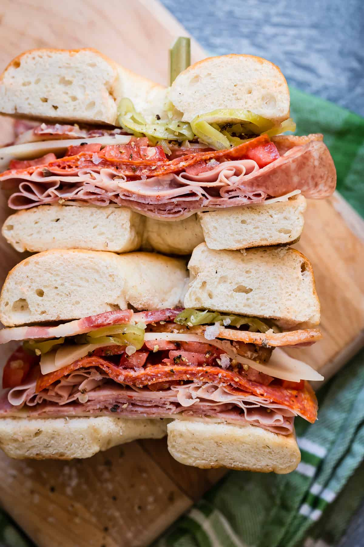 Check out this fully loaded Italian style bagel sandwich for lunch!