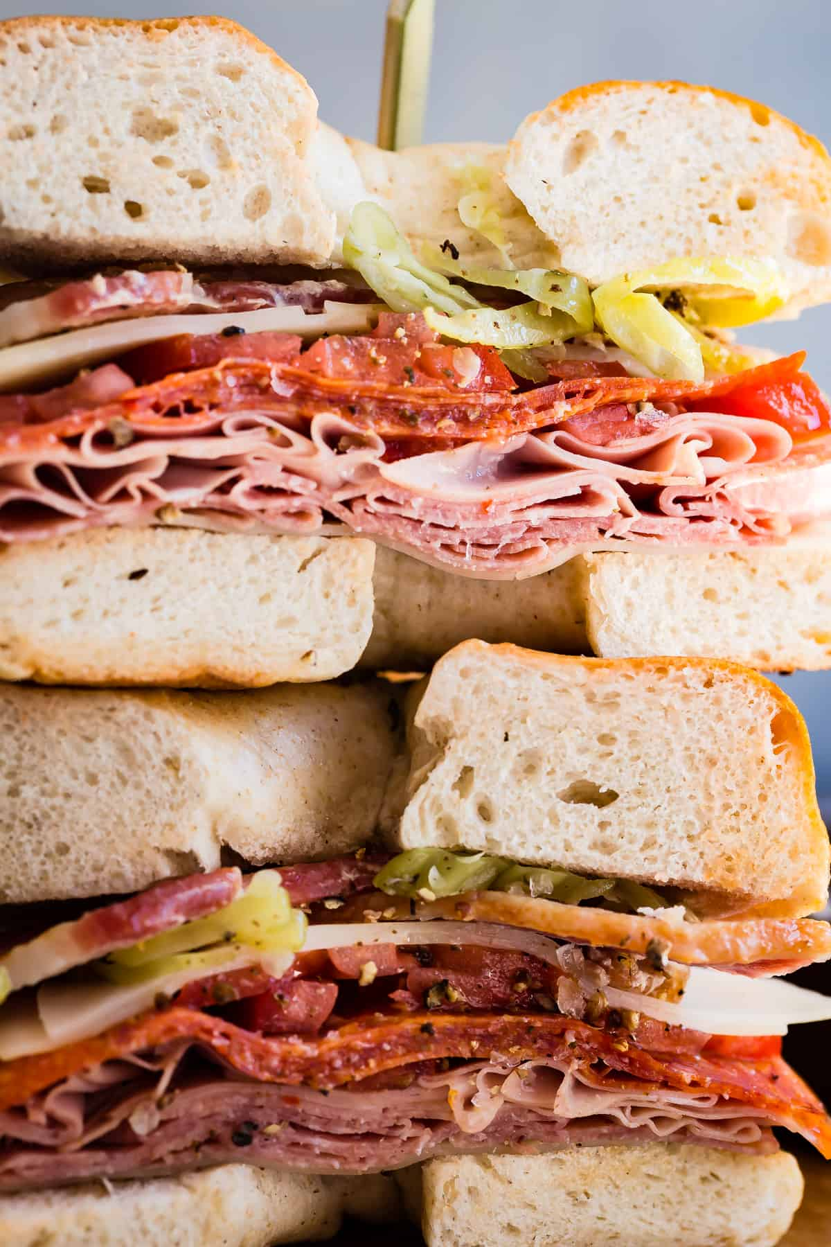 An epic bagel sandwich loaded with Italian meats and cheese!