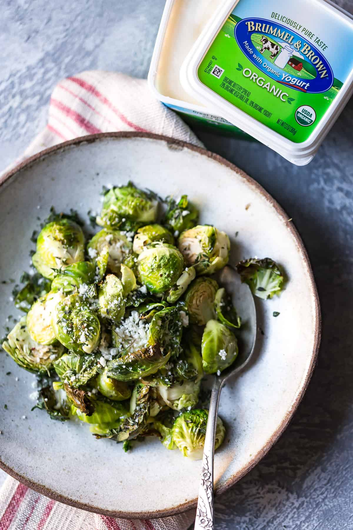 Brummell and Brown is the perfect spread to go along with these easy roasted thyme brussels sprouts!