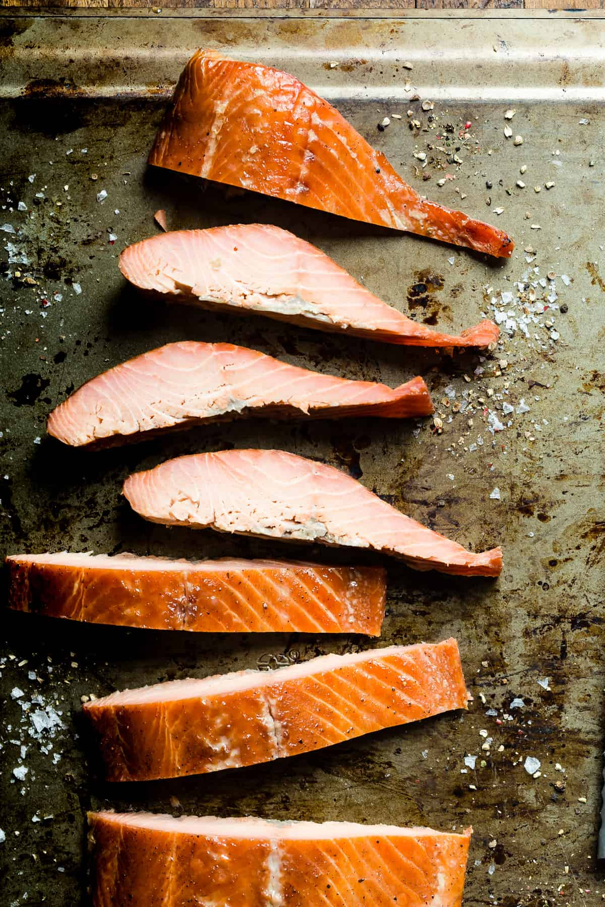 Delicious hot smoked salmon