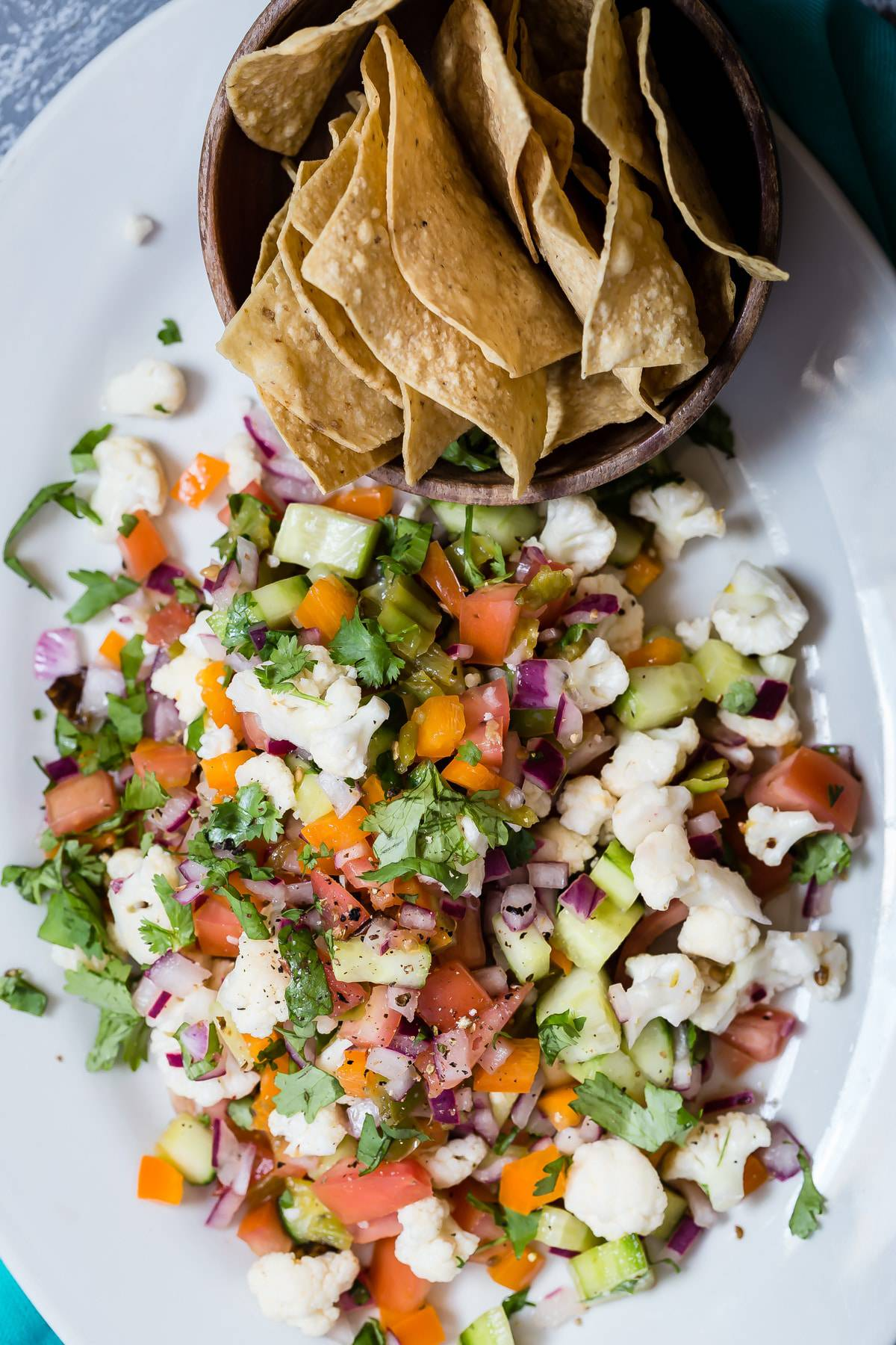 Tasty vegetarian ceviche with crunchy fresh tortilla chips!