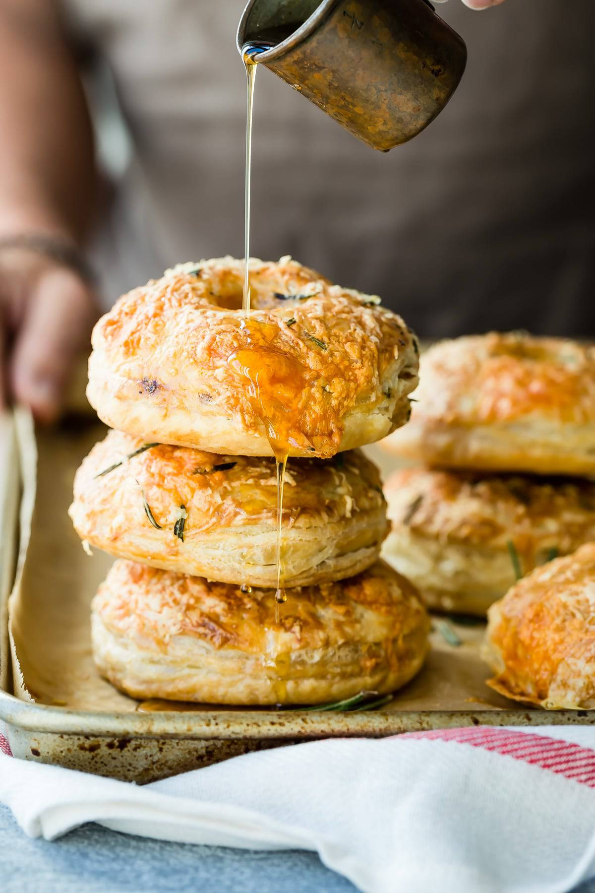 Puff pastry breakfast hand pies with maple syrup.
