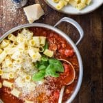 Italian Sausage Rigatoni with Fresh Basil and Parmesan
