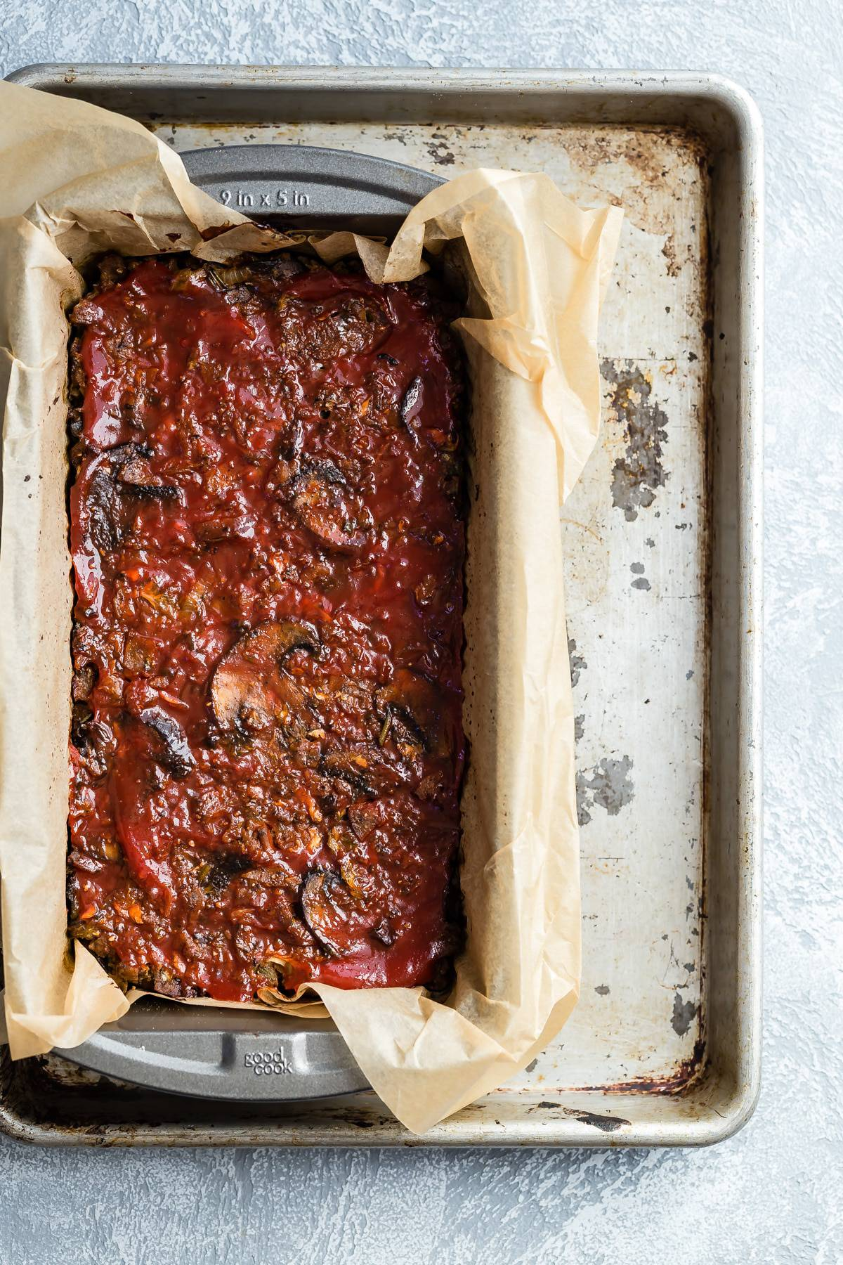Vegetarian meat loaf with a tomato ketchup glaze