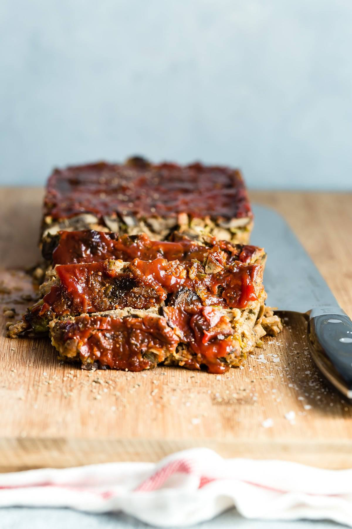 Yummy vegetarian meat loaf made with vegetarian sausage