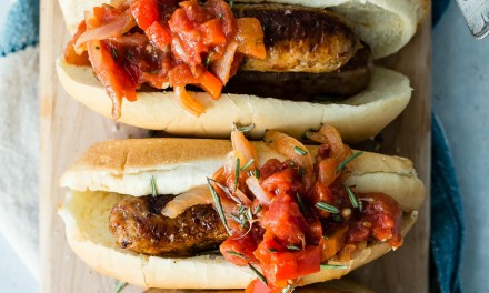 Red Pepper Onion Chili Relish with Bratwurst