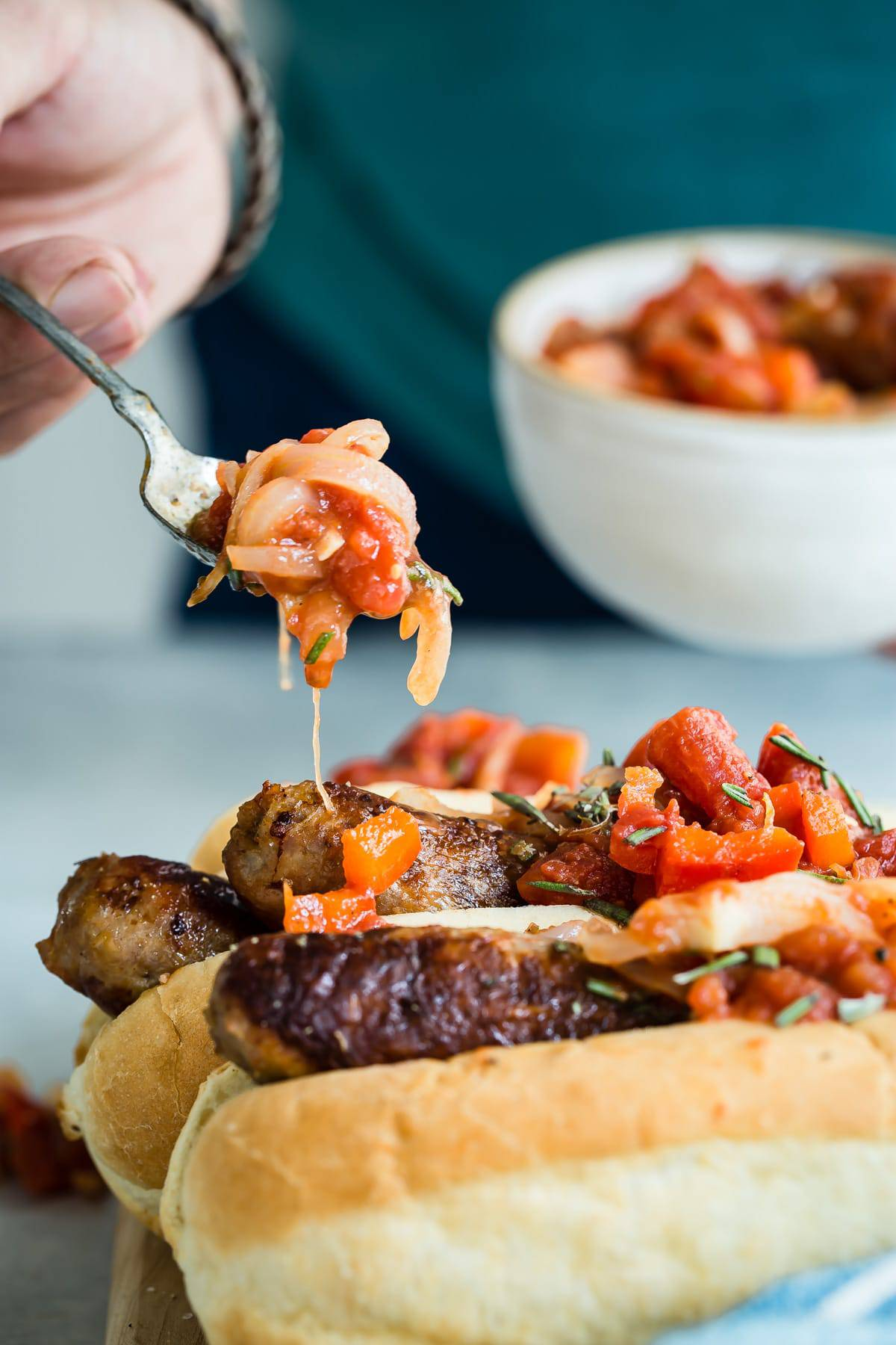 This red pepper and chili relish is a great topping for bratwurst.