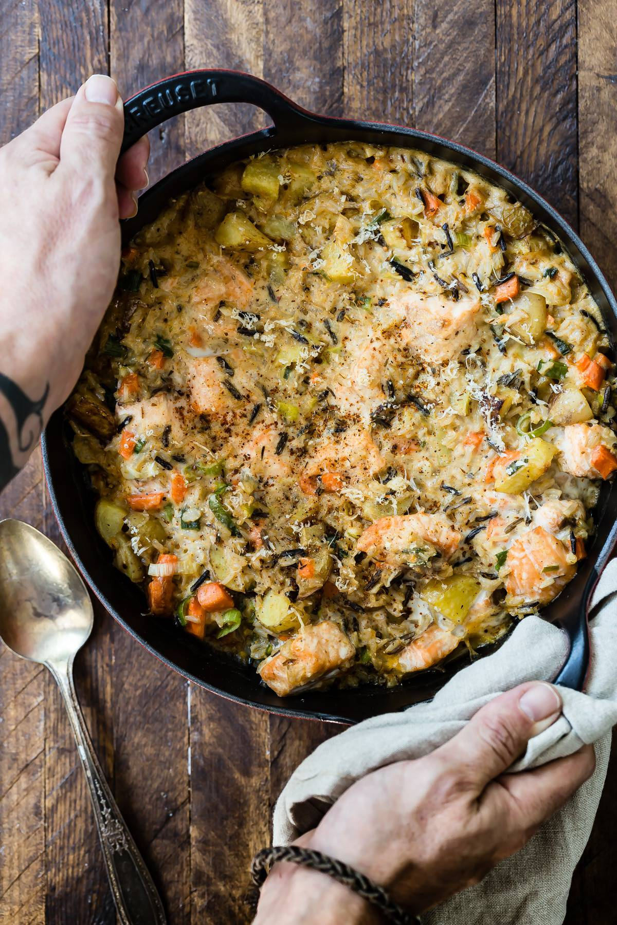 Baked Salmon and Wild Rice Casserole