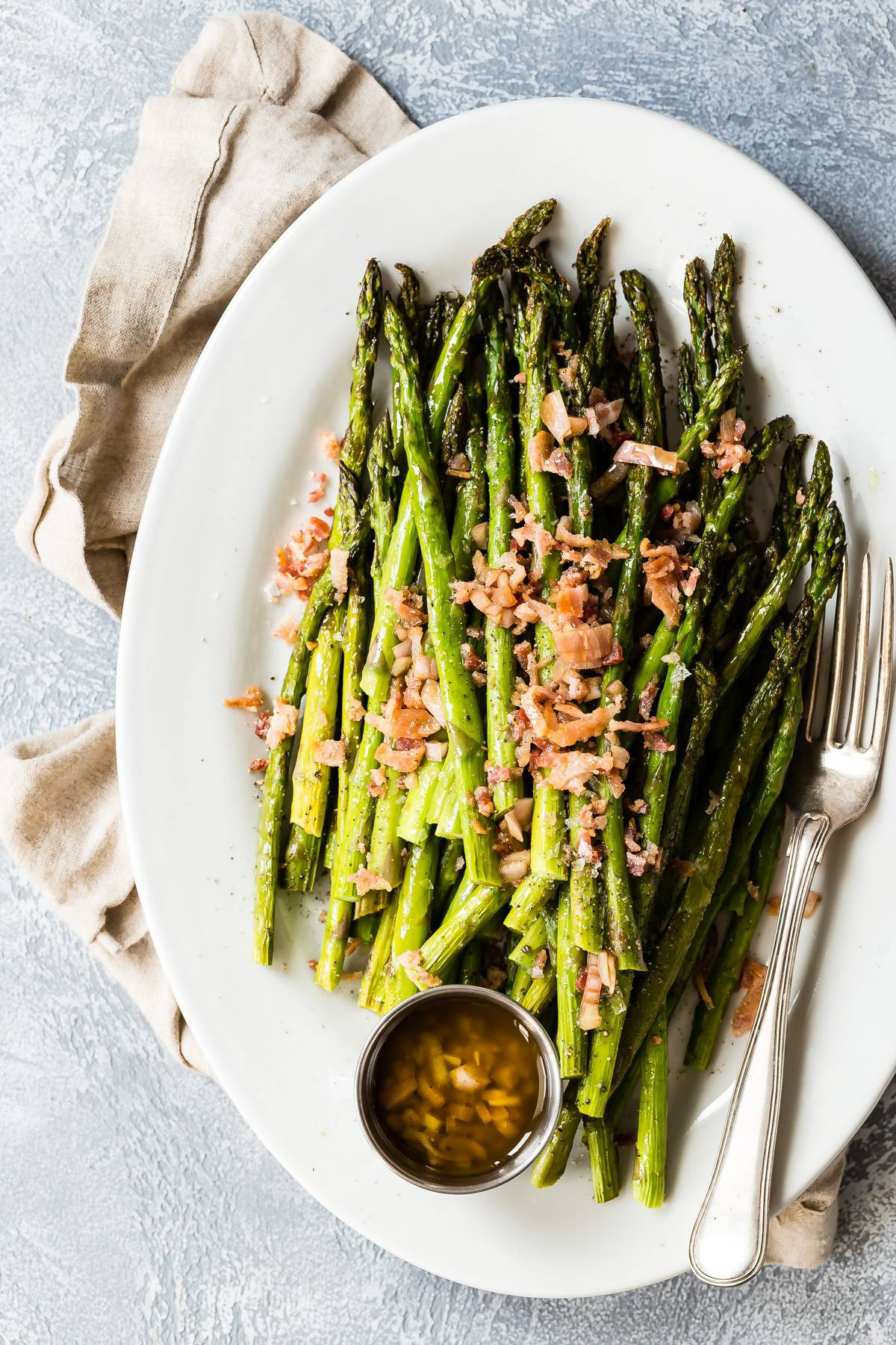 Roasted asparagus with bacon and a shallot and Dijon mustard dressing
