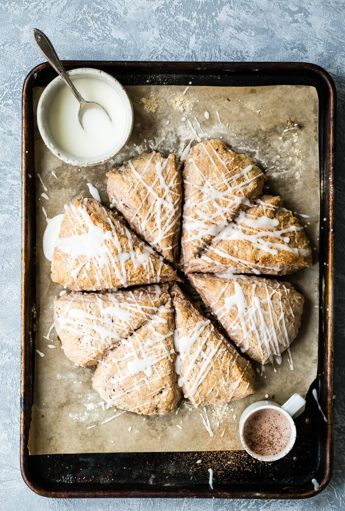 Buttermilk Scones on a baking sheet pan