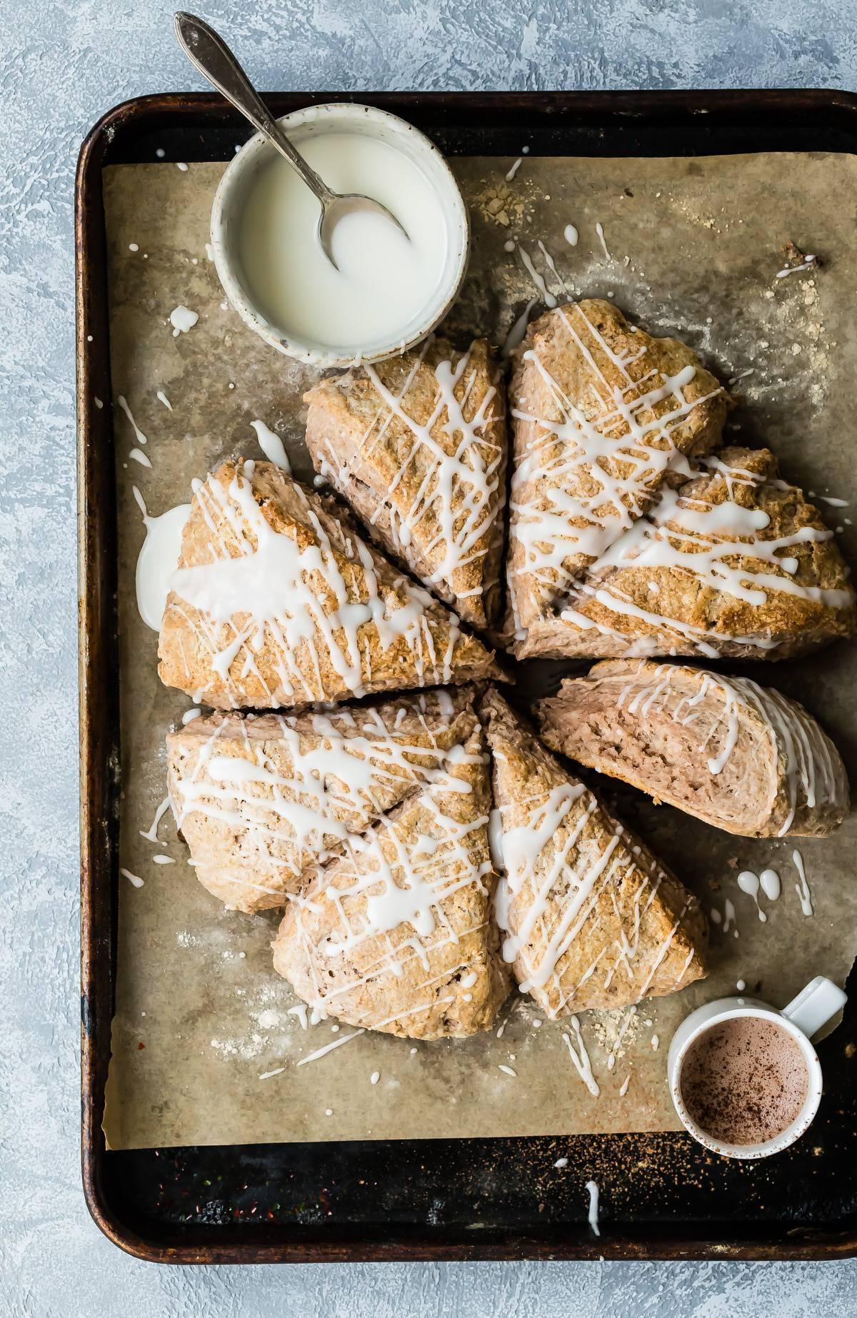 Fresh bakes buttermilk scones on a sheet pan